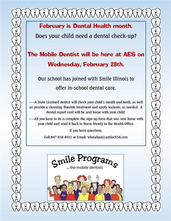 Smile Mobile Dentist is coming to AES on Wed. Feb. 28th