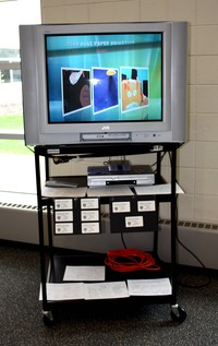 Paper animation video display at the student art show created in Graphic Arts class