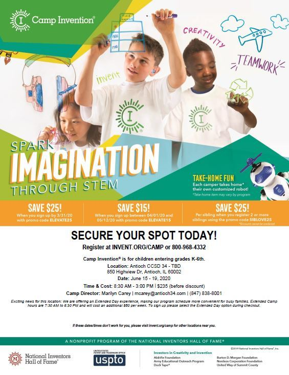Do you want to Spark your Imagination?  Then Camp Invention is for you