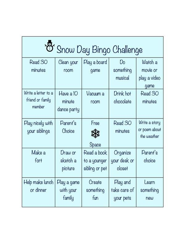 Snow Day/Cold Day Bingo